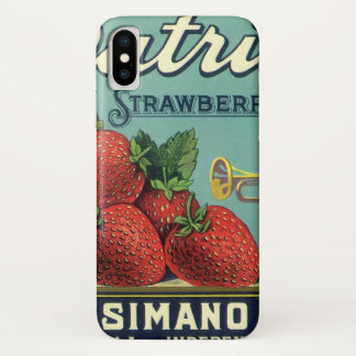 Vintage Fruit Crate Label Art Patriot Strawberries iPhone X Case