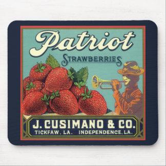 Vintage Fruit Crate Label Art Patriot Strawberries Mouse Pad