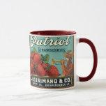 Vintage Fruit Crate Label Art Patriot Strawberries Mug