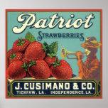 Vintage Fruit Crate Label Art Patriot Strawberries Poster