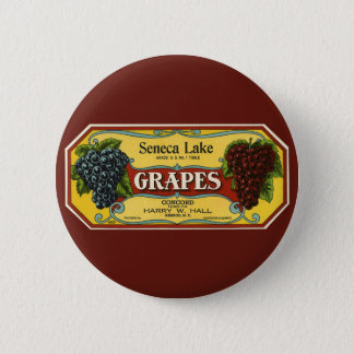 Vintage Fruit Crate Label Art, Seneca Lake Grapes Button