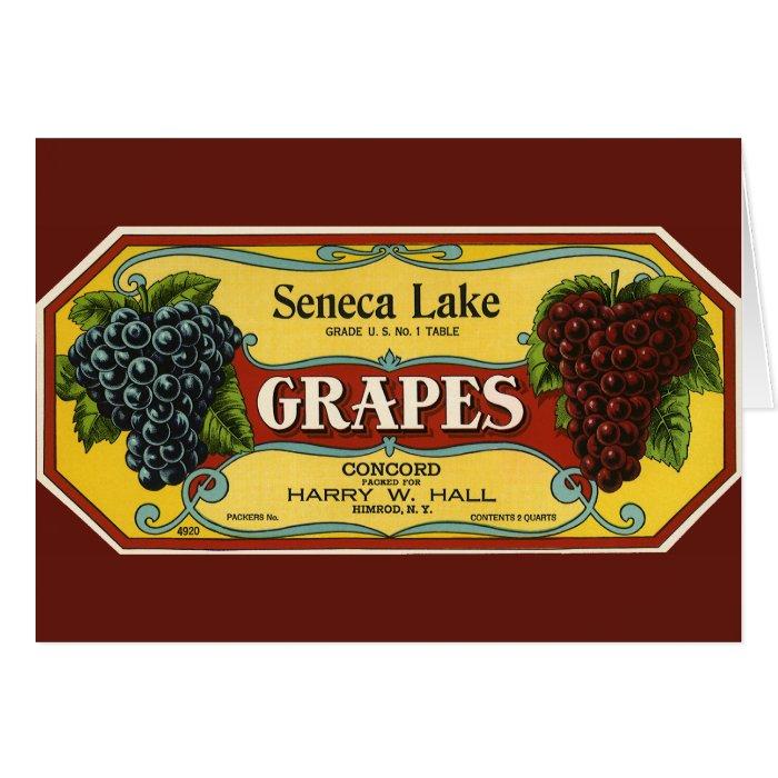 Vintage Fruit Crate Label Art, Seneca Lake Grapes Card
