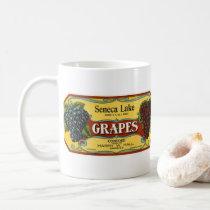 Vintage Fruit Crate Label Art, Seneca Lake Grapes Coffee Mug