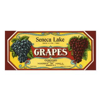 "Vintage Fruit Crate Label Art, Seneca Lake Grapes 4"" X 9.25"" Invitation Card"