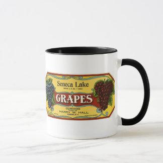 Vintage Fruit Crate Label Art, Seneca Lake Grapes Mug