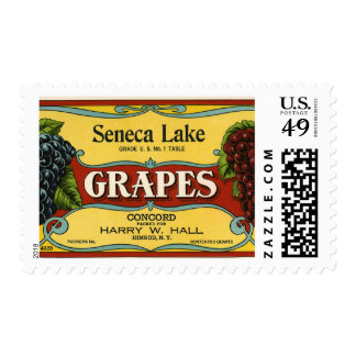 Vintage Fruit Crate Label Art, Seneca Lake Grapes Postage