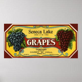 Vintage Fruit Crate Label Art, Seneca Lake Grapes Poster
