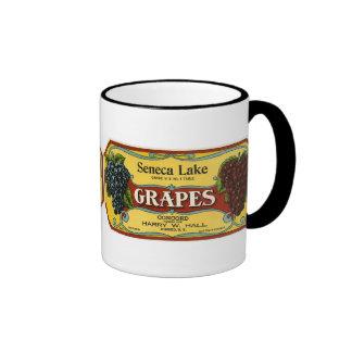 Vintage Fruit Crate Label Art, Seneca Lake Grapes Ringer Mug