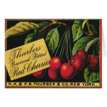 Vintage Fruit Crate Label Art, Thurber Cherries