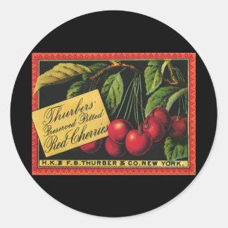 Vintage Fruit Crate Label Art, Thurber Cherries