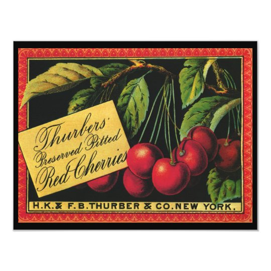 Vintage Fruit Crate Label Art, Thurber Cherries Card