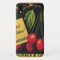 Vintage Fruit Crate Label Art, Thurber Cherries iPhone XR Case