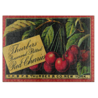 Vintage Fruit Crate Label Art, Thurber Cherries Cutting Boards