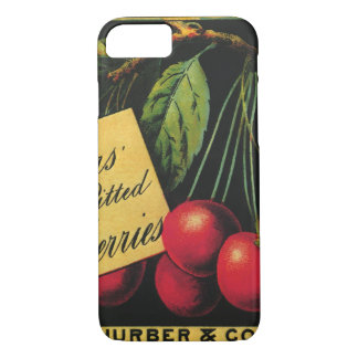 Vintage Fruit Crate Label Art, Thurber Cherries iPhone 8/7 Case