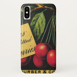Vintage Fruit Crate Label Art, Thurber Cherries iPhone X Case