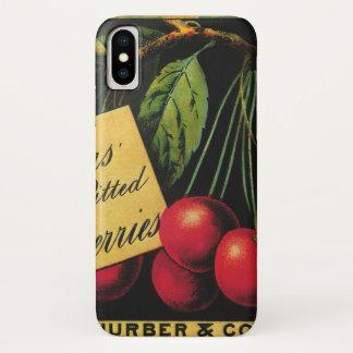 Vintage Fruit Crate Label Art, Thurber Cherries iPhone X Case