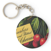 Vintage Fruit Crate Label Art, Thurber Cherries Keychain