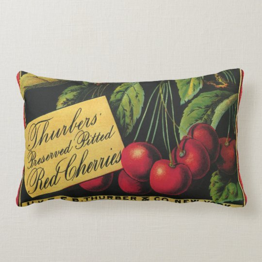 Vintage Fruit Crate Label Art, Thurber Cherries Lumbar Pillow