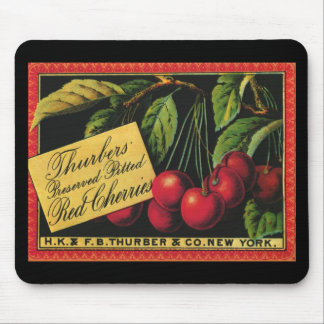 Vintage Fruit Crate Label Art, Thurber Cherries Mouse Pad