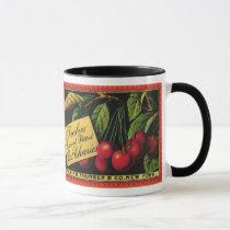 Vintage Fruit Crate Label Art, Thurber Cherries Mug