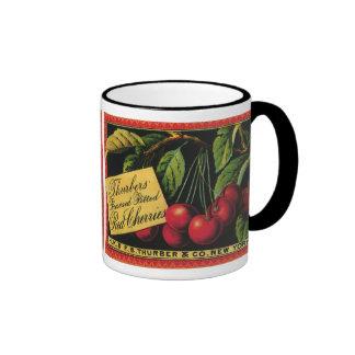 Vintage Fruit Crate Label Art, Thurber Cherries Mugs