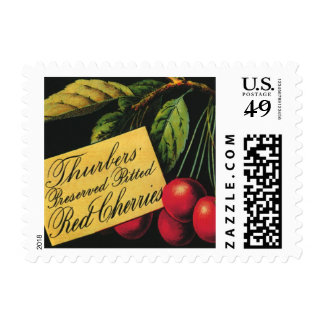 Vintage Fruit Crate Label Art, Thurber Cherries Postage