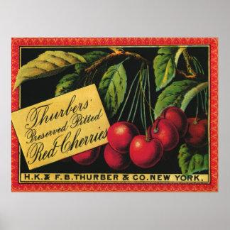 Vintage Fruit Crate Label Art, Thurber Cherries Print