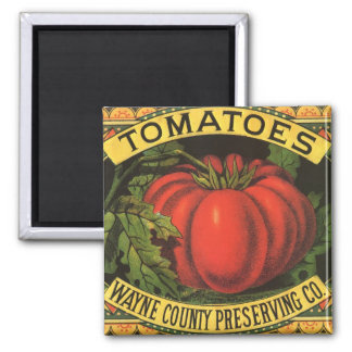 Vintage Fruit Crate Label Art, Wayne Co Tomatoes 2 Inch Square Magnet