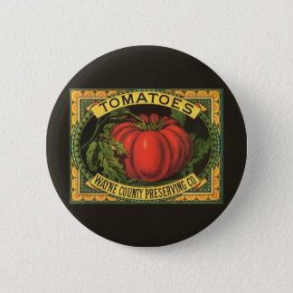 Vintage Fruit Crate Label Art, Wayne Co Tomatoes Button