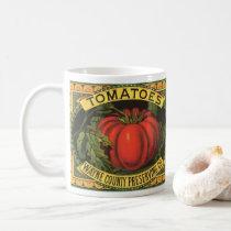 Vintage Fruit Crate Label Art, Wayne Co Tomatoes Coffee Mug