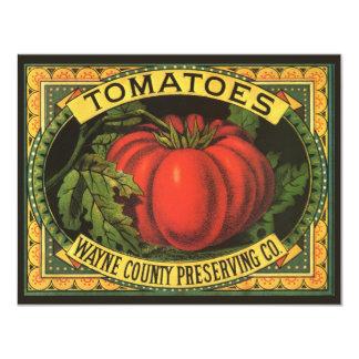 "Vintage Fruit Crate Label Art, Wayne Co Tomatoes 4.25"" X 5.5"" Invitation Card"
