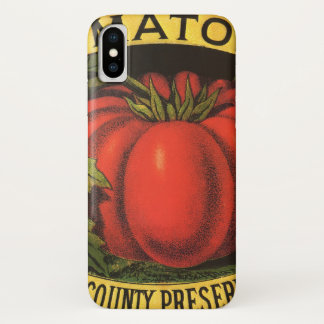 Vintage Fruit Crate Label Art, Wayne Co Tomatoes iPhone X Case