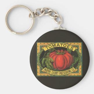 Vintage Fruit Crate Label Art, Wayne Co Tomatoes Keychain
