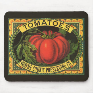 Vintage Fruit Crate Label Art, Wayne Co Tomatoes Mouse Pad