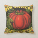 Vintage Fruit Crate Label Art, Wayne Co Tomatoes Pillows