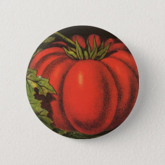 Vintage Fruit Crate Label Art, Wayne Co Tomatoes Pinback Button