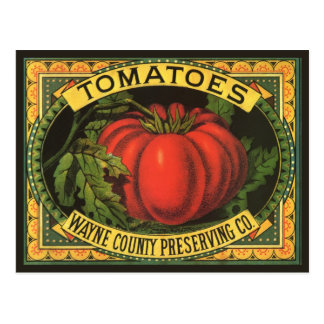Vintage Fruit Crate Label Art, Wayne Co Tomatoes Post Card