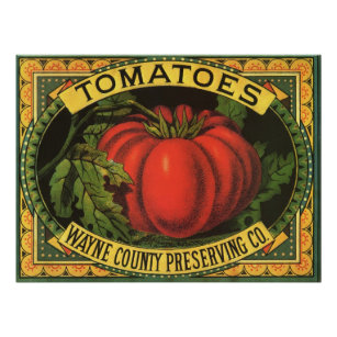 Vintage Fruit Crate Label Art Wayne Co Tomatoes Poster