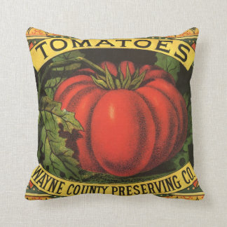 Vintage Fruit Crate Label Art, Wayne Co Tomatoes Throw Pillow
