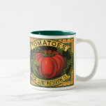 Vintage Fruit Crate Label Art, Wayne Co Tomatoes Two-Tone Coffee Mug