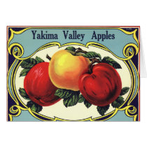 Vintage Fruit Crate Label Art Yakima Valley Apples