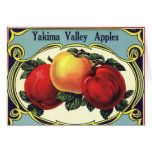 Vintage Fruit Crate Label Art Yakima Valley Apples Card
