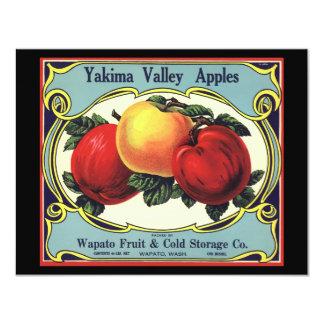 "Vintage Fruit Crate Label Art Yakima Valley Apples 4.25"" X 5.5"" Invitation Card"