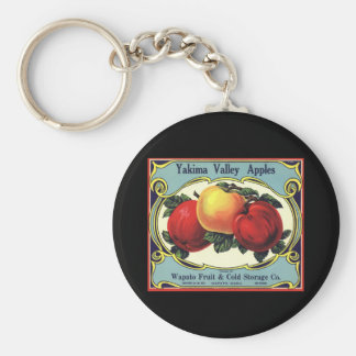 Vintage Fruit Crate Label Art Yakima Valley Apples Keychain