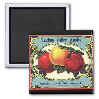 Vintage Fruit Crate Label Art Yakima Valley Apples Magnet