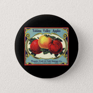 Vintage Fruit Crate Label Art Yakima Valley Apples Pinback Button