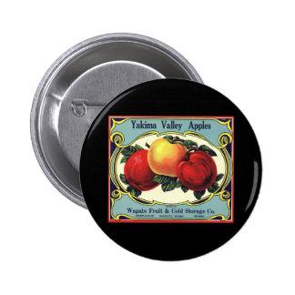 Vintage Fruit Crate Label Art Yakima Valley Apples Pinback Button
