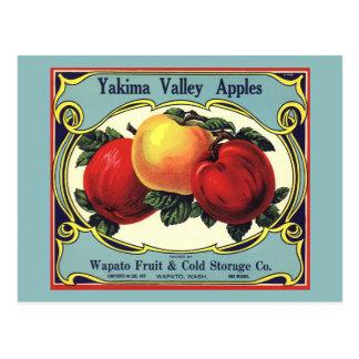 Vintage Fruit Crate Label Art Yakima Valley Apples Post Card