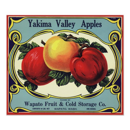 Vintage Fruit Crate Label Art Yakima Valley Apples Poster