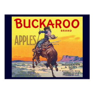 Vintage Fruit Crate Label with a Cowboy on a Horse Postcards